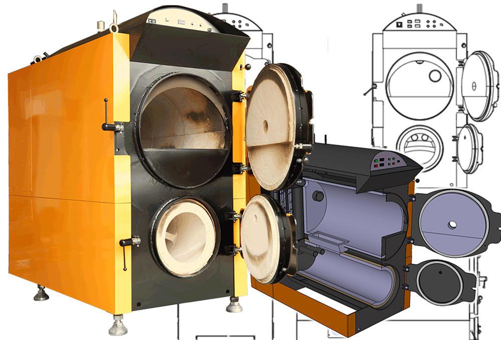 木質バイオマスガス化燃焼装置の写真